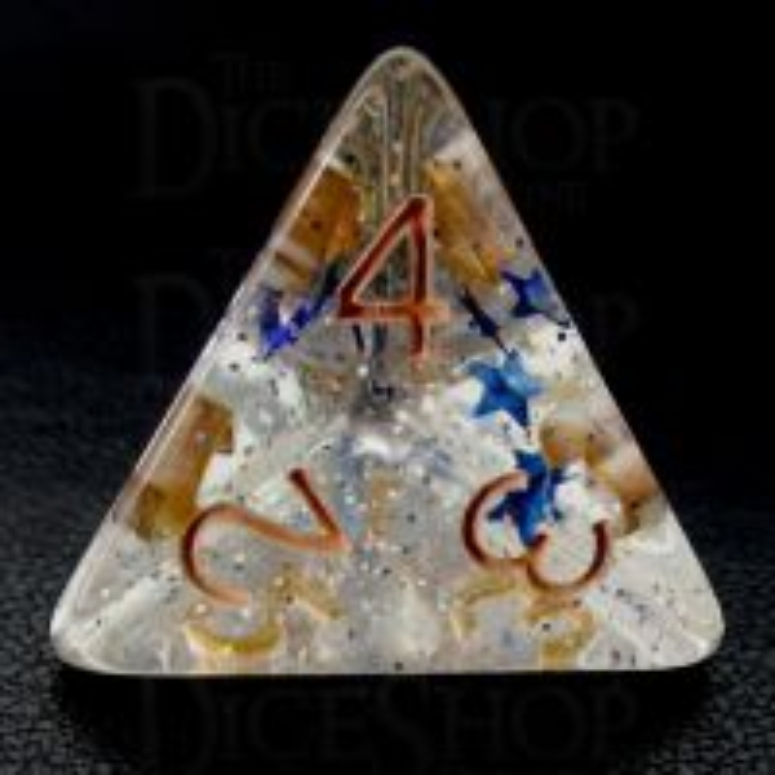 TDSO Confetti Sky Star D4 Dice