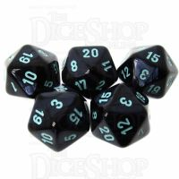 Würfelzeit Silkki Satin Black & Turquoise 5 x D20 Dice Set