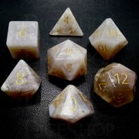 TDSO Agate Cherry with Engraved Numbers 16mm Precious Gem 7 Dice Polyset