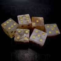 TDSO Agate Cherry with Engraved Numbers 16mm Precious Gem  6 x D6 Dice Set