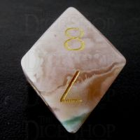 TDSO Agate Cherry with Engraved Numbers 16mm Precious Gem D8 Dice