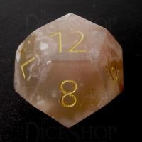 TDSO Agate Cherry with Engraved Numbers 16mm Precious Gem D12 Dice
