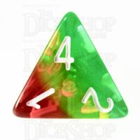 TDSO Layer Transparent Green Yellow & Red D4 Dice