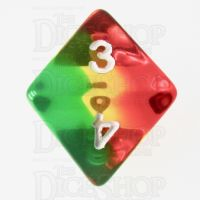 TDSO Layer Transparent Green Yellow & Red D8 Dice