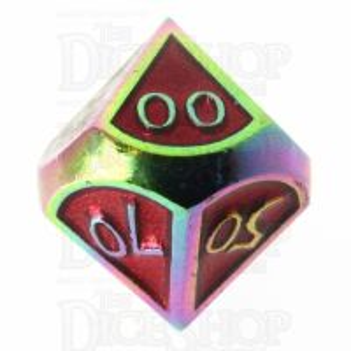 TDSO Metal Script Iridescent & Red Percentile Dice