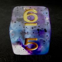 TDSO Particles Swirl Violet Sulfer D6 Dice