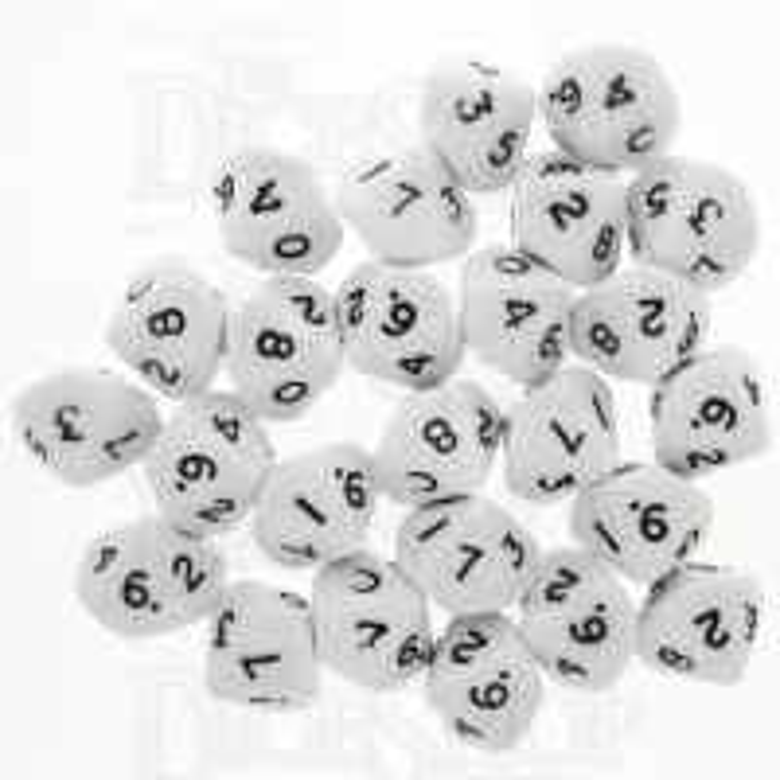 CLEARANCE BULK D&G Opaque White D10 x 25 Dice SECONDS