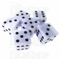 TDSO Agate Lace with Engraved Spots 16mm Precious Gem 6 x D6 Dice Set