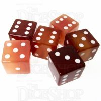 TDSO Carnelian with Engraved Spots 16mm Precious Gem 6 x D6 Dice Set