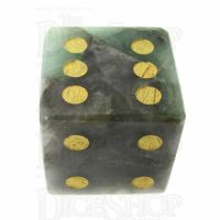 TDSO Emerald with Engraved Spots 16mm Precious Gem D6 Dice