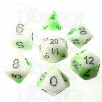 TDSO Duel Jade & White Glow in the Dark 7 Dice Polyset