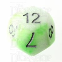 TDSO Duel Jade & White Glow in the Dark 16mm D12 Dice