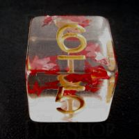 TDSO Confetti Butterfly Red & Gold D6 Dice