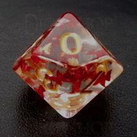 TDSO Confetti Butterfly Red & Gold D10 Dice
