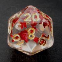 TDSO Confetti Butterfly Red & Gold D20 Dice