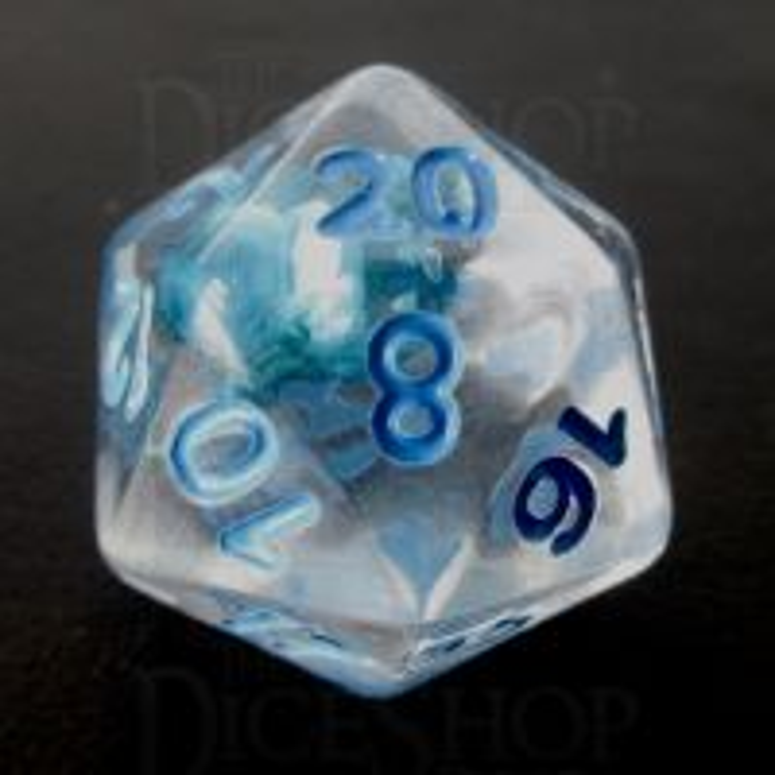 TDSO Encapsulated Flower Blue D20 Dice