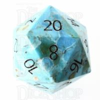 TDSO Turquoise Natural Stabilised with Engraved Numbers 16mm Precious Gem D20 Dice