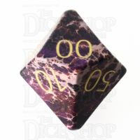 TDSO Imperial Stone Purple with Engraved Numbers 16mm Precious Gem Percentile Dice