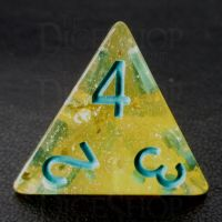 TDSO Confetti Gold Nugget & Turquoise D4 Dice