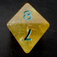 TDSO Confetti Gold Nugget & Turquoise D8 Dice