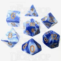 TDSO Marble Blue & White 7 Dice Polyset