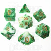 TDSO Marble Green & White 7 Dice Polyset