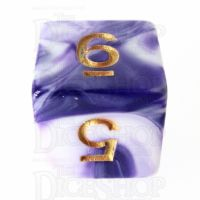 TDSO Marble Purple & White D6 Dice