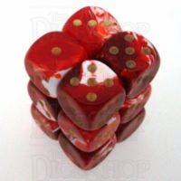 D&G Marble Red & White 12 x D6 Dice Set