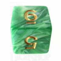 TDSO Marble Green & White D6 Dice