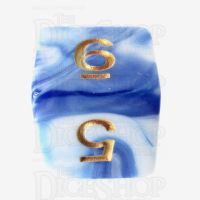 TDSO Marble Blue & White D6 Dice