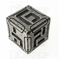 Metal Armour Plate Polished Silver D6 Dice