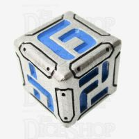 Metal Armour Plate Silver & Blue D6 Dice