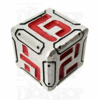 Metal Armour Plate Silver & Red D6 Dice