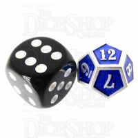 TDSO Metal Fire Forge Silver & Blue MINI 12mm D12 Dice
