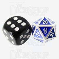 TDSO Metal Fire Forge Silver & Blue MINI 12mm D20 Dice