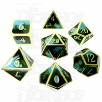 TDSO Metal Fire Forged Multi Colour Gold Black Green & Turquoise 7 Dice Polyset