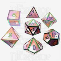 TDSO Metal Fire Forged Multi Colour Iridescent Orange Violet & White 7 Dice Polyset
