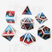 TDSO Metal Fire Forged Multi Colour Silver Black Blue & Red 7 Dice Polyset