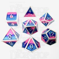 TDSO Metal Fire Forged Multi Colour Silver Blue Pink & Purple 7 Dice Polyset