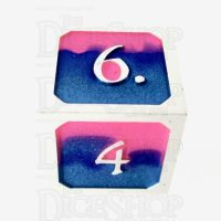 TDSO Metal Fire Forged Multi Colour Silver Blue Pink & Purple D6 Dice
