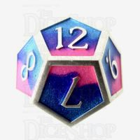TDSO Metal Fire Forged Multi Colour Silver Blue Pink & Purple D12 Dice