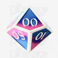 TDSO Metal Fire Forged Multi Colour Silver Blue Pink & Purple Percentile Dice
