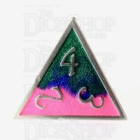 TDSO Metal Fire Forged Multi Colour Silver Blue Green & Pink D4 Dice
