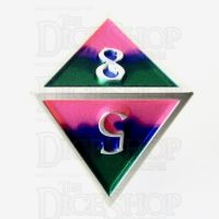 TDSO Metal Fire Forged Multi Colour Silver Blue Green & Pink D8 Dice
