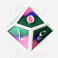 TDSO Metal Fire Forged Multi Colour Silver Blue Green & Pink D10 Dice