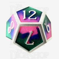 TDSO Metal Fire Forged Multi Colour Silver Blue Green & Pink D12 Dice