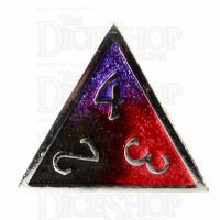 TDSO Metal Fire Forged Multi Colour Silver Black Purple & Red D4 Dice