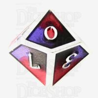 TDSO Metal Fire Forged Multi Colour Silver Black Purple & Red D10 Dice