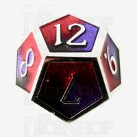 TDSO Metal Fire Forged Multi Colour Silver Black Purple & Red D12 Dice