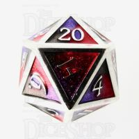 TDSO Metal Fire Forged Multi Colour Silver Black Purple & Red D20 Dice